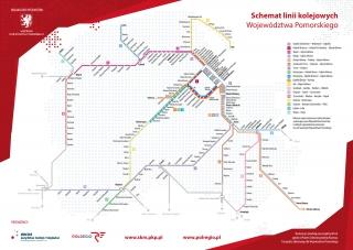 Schemat linii kolejowych Województwa Pomorskiego
