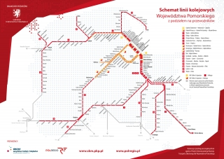 Schemat linii kolejowych Województwa Pomorskiego z podziałem na przewoźników