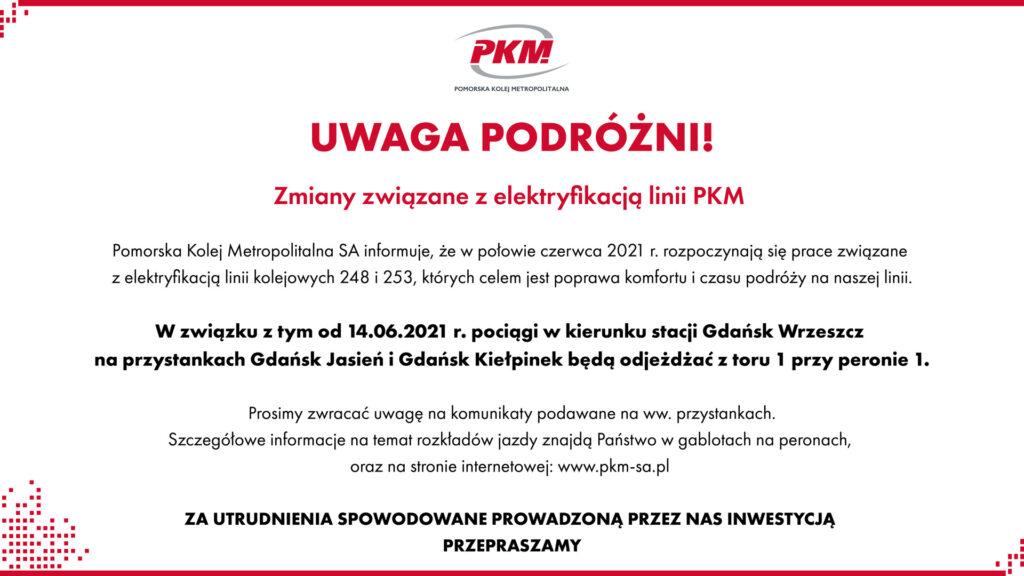 Komunikat o utrudnieniach związanych z elektryfikacją linii PKM